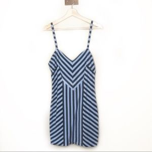 Torn by Ronny Kobo Blue Striped strappy dress